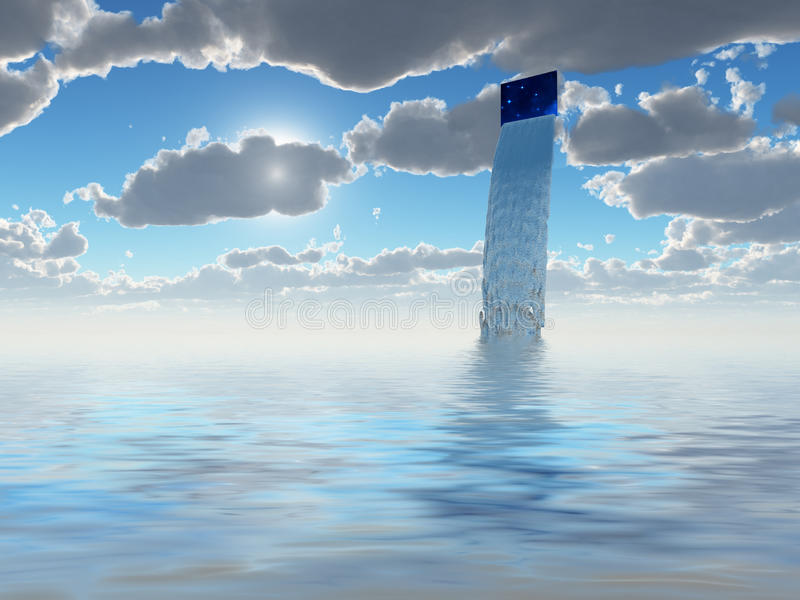 Water flows from hole in sky royalty free illustration