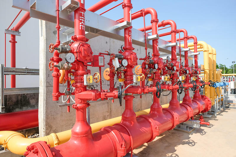 Water and foam line for fire protection system stock photography