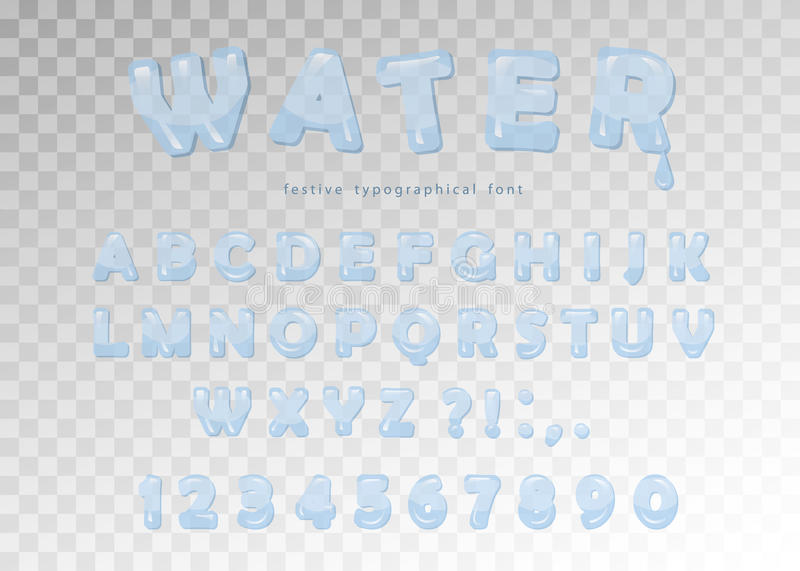 Download Water Font Design Transparent Glossy ABC Letters And Numbers Vector Stock Illustration