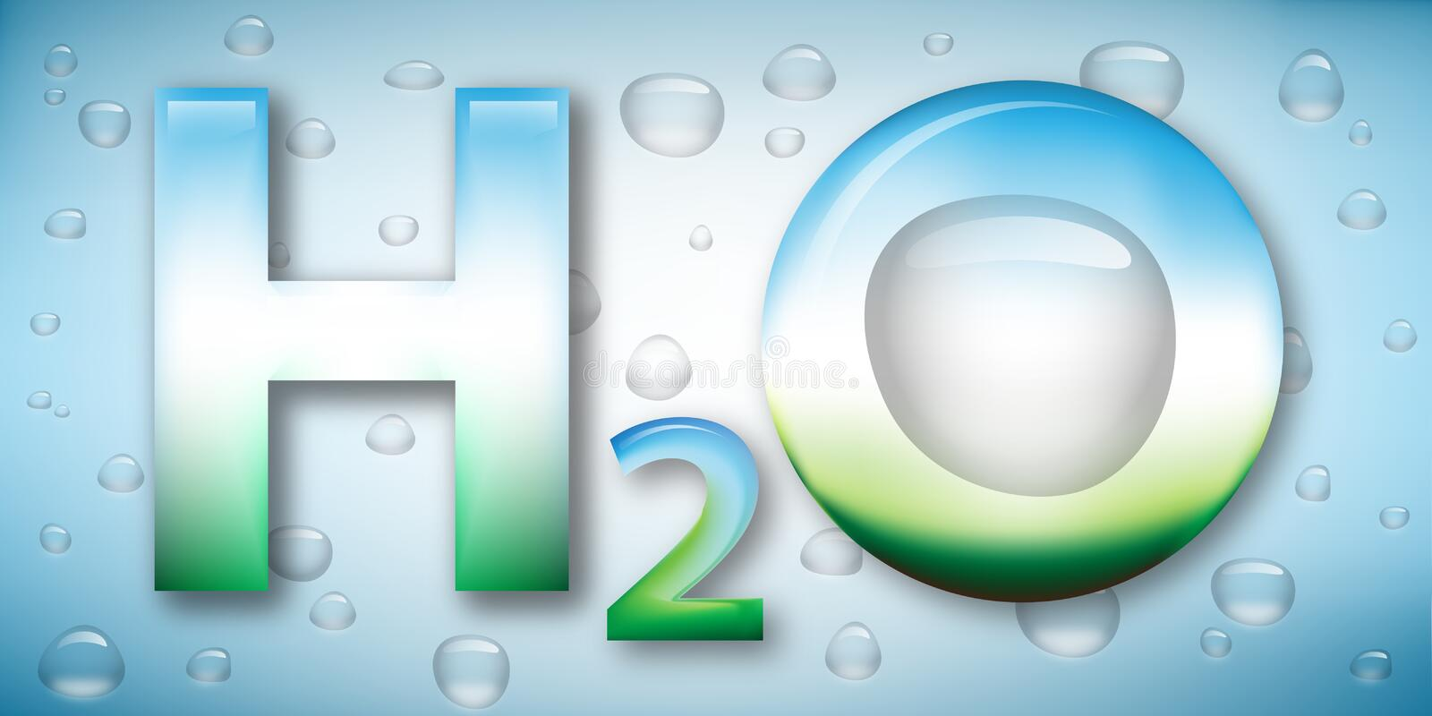 Water formula and drops on background stock illustration