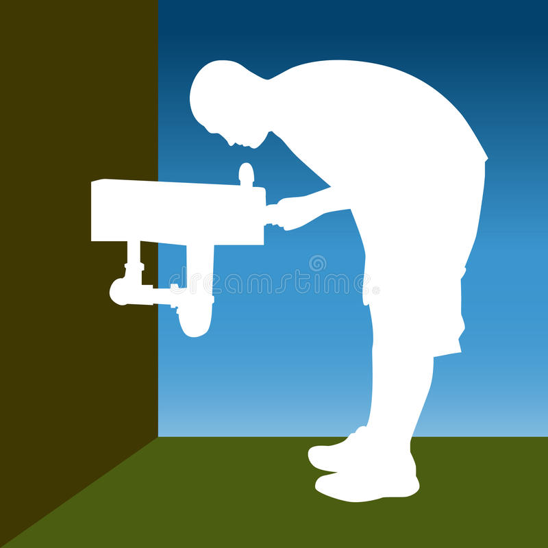 Water Fountain. An image of a man at a water fountain royalty free illustration