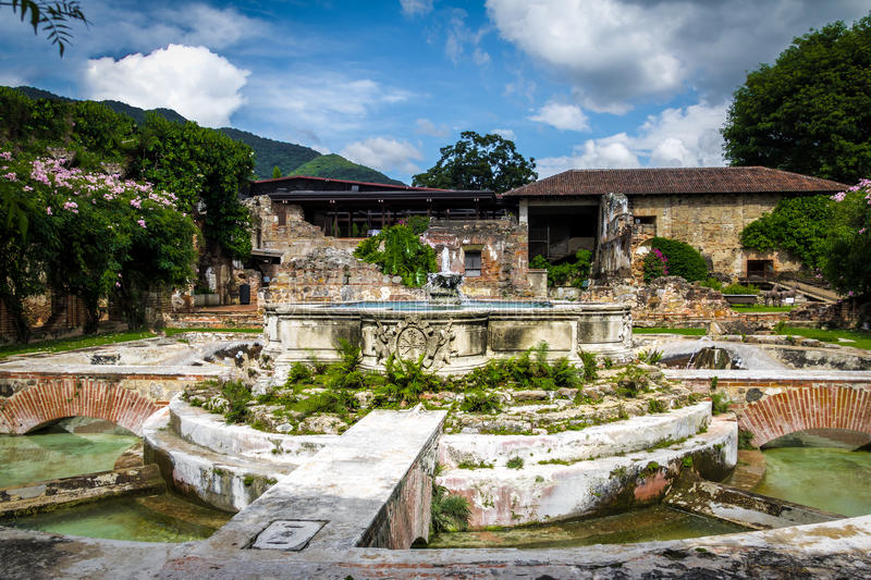 Water Fountain in ancient convent ruins - Antigua, Guatemala. Water Fountain in ancient convent ruins in Antigua, Guatemala royalty free stock photos