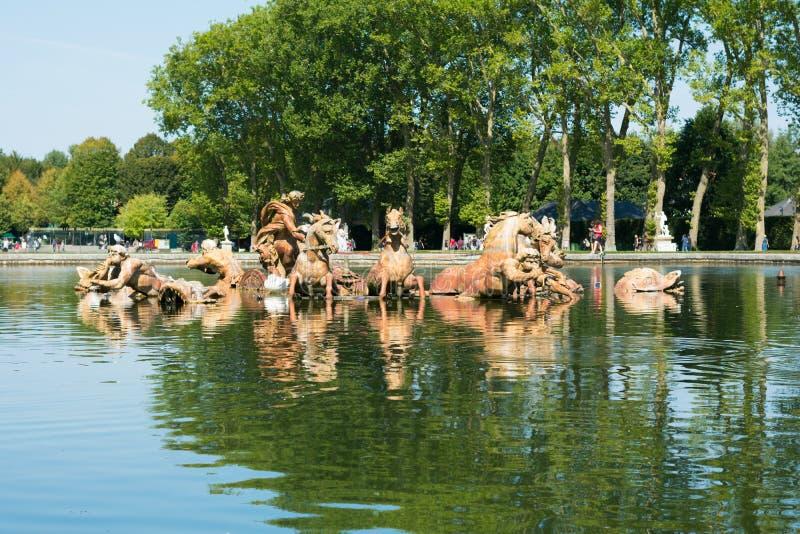 Water fountain of Apollon in Versailles garden stock photo
