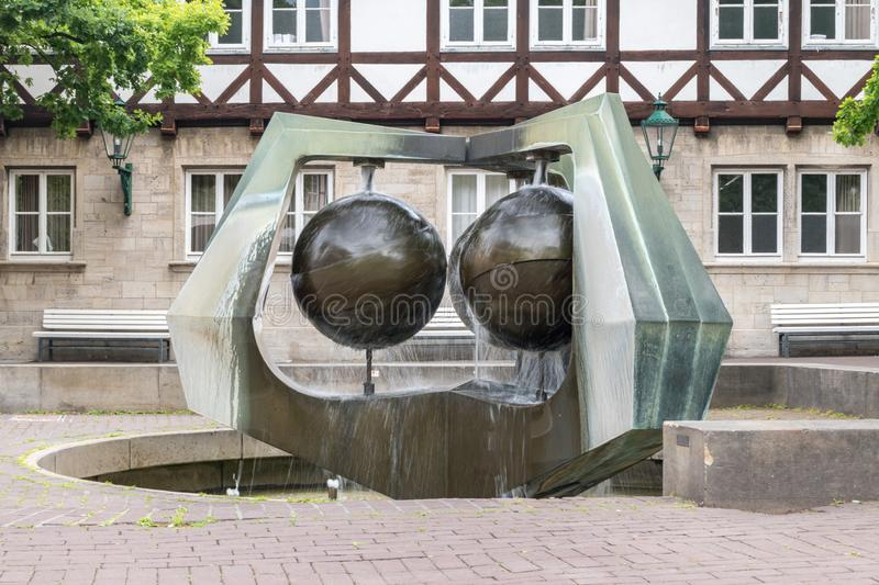 Water fountain at the Ballhofplatz square in Hannover, Germany.  royalty free stock image