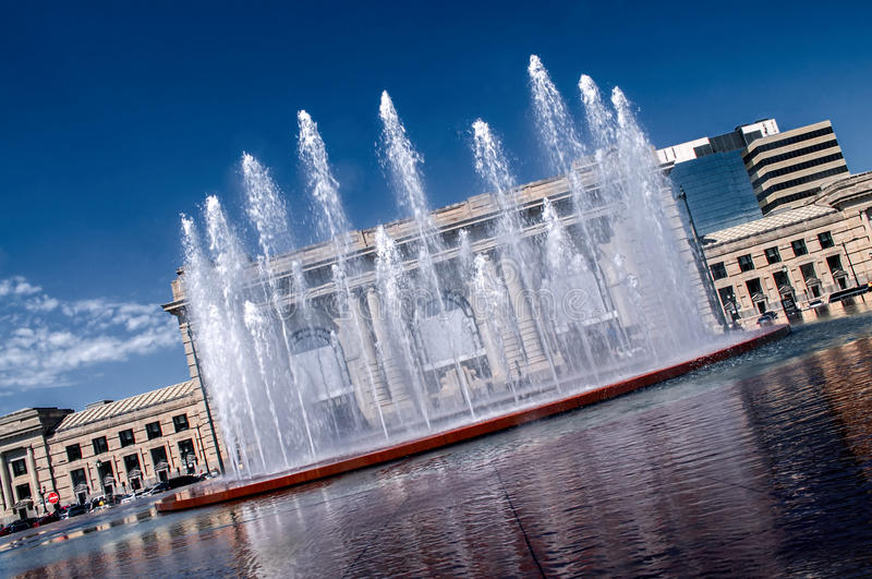 Water fountain. A beatiful water fountain in front of the famous Kansas City Missouri Union Station royalty free stock photo