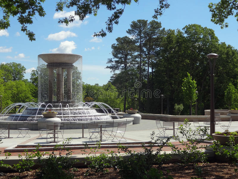 Water Fountain in Cary, North Carolina. A Running Water Fountain in a Downtown Cary, North Carolina Park stock photo