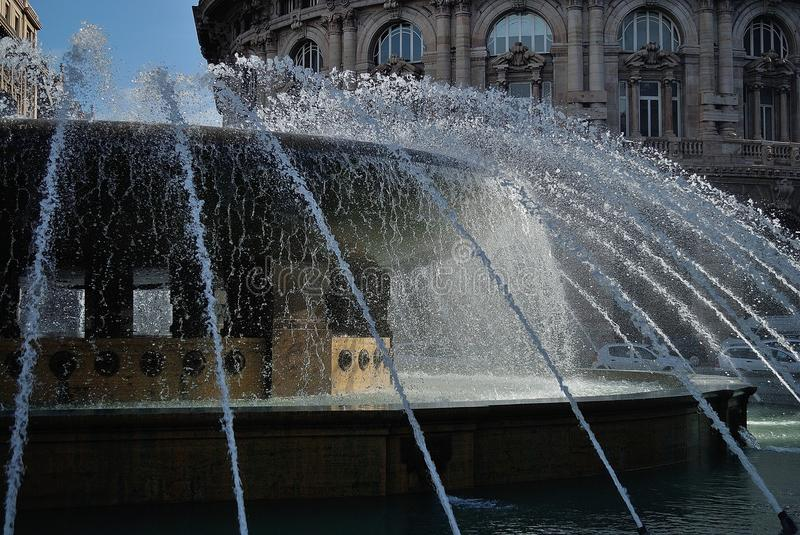 Water fountain. In the city of Genoa royalty free stock image