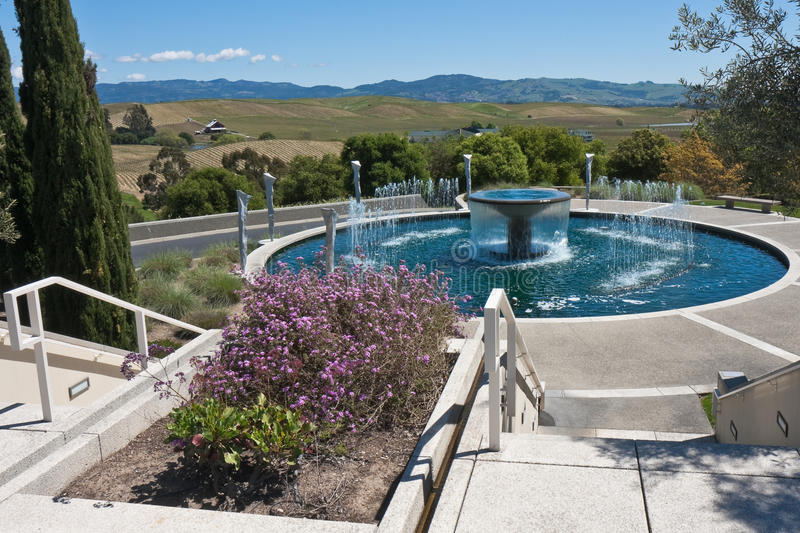 Download Water Fountain In A Garden At A Napa Valley Winery Stock Image - Image: 9602867