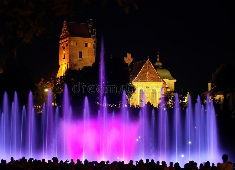 Water fountain. In the park fountain in Warsaw, during a performance of multimedia spectacles presented are gathering many residents and tourists royalty free stock photos