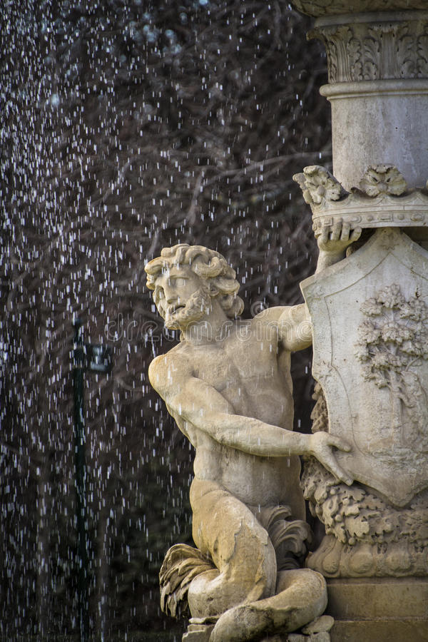 Water fountain in Retiro Park (Parque del Retiro) in Madrid royalty free stock photo