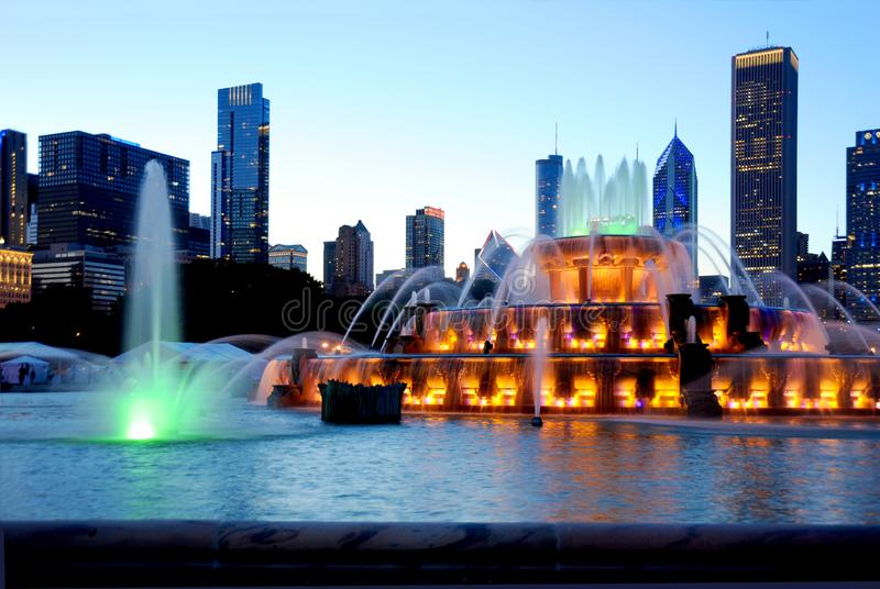 Water Fountain show in the middle of Chicago at twilight with spectacular colors. royalty free stock images