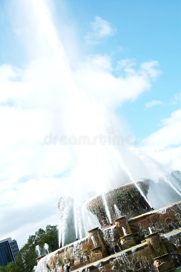 Water Fountain of Success. Water jets from the Buckingham fountain. The powerful high jets of water is a good inspiration for success stock photo