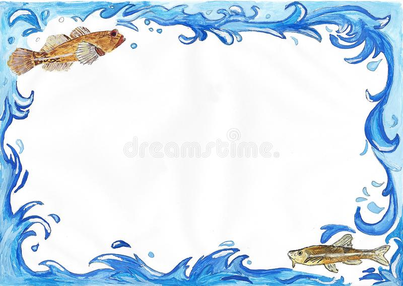 Water frames. Painted frame with water waves and fish royalty free illustration