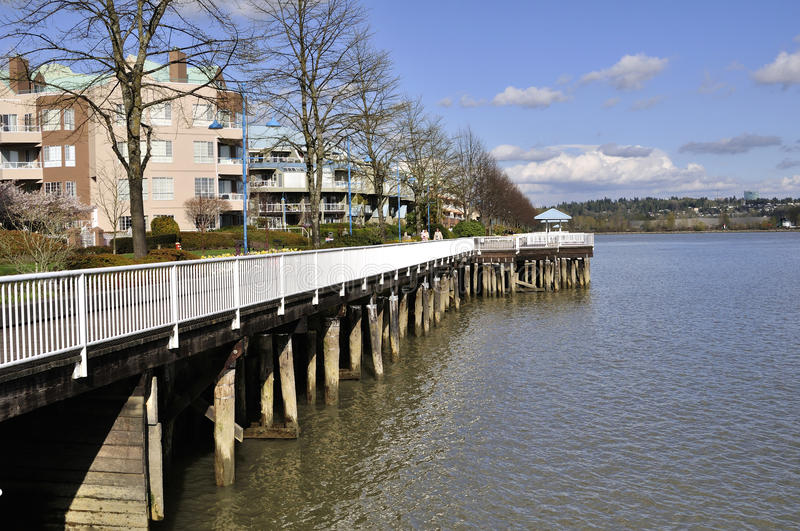 Water-front of a residential area stock images