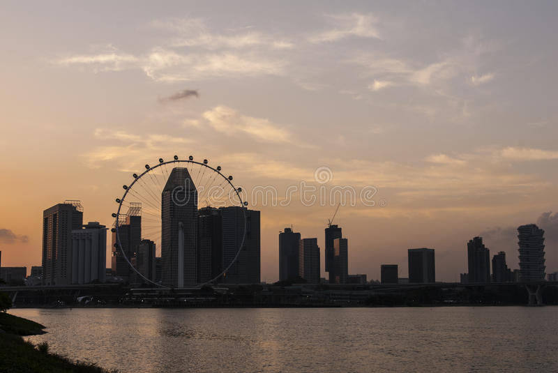 Water front sunset of Singapore skyline a modern urban city. Waterfront sunset of Singapore skyline a modern urban city stock images