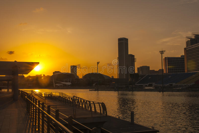 Water front sunset of Singapore skyline a modern urban city. Waterfront sunset of Singapore skyline a modern urban city royalty free stock images