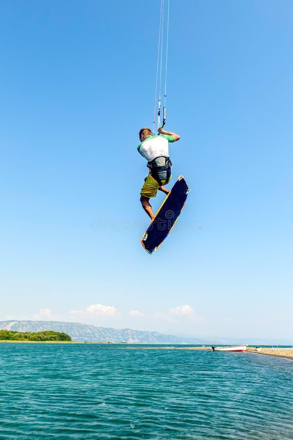 Water fun and kiteboarding in Ada Bojana, Montenegro. Europe royalty free stock image