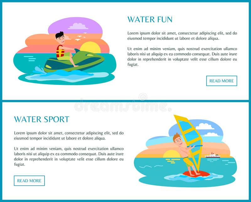 Water Fun Sport, Color Banner, Vector Illustration vector illustration