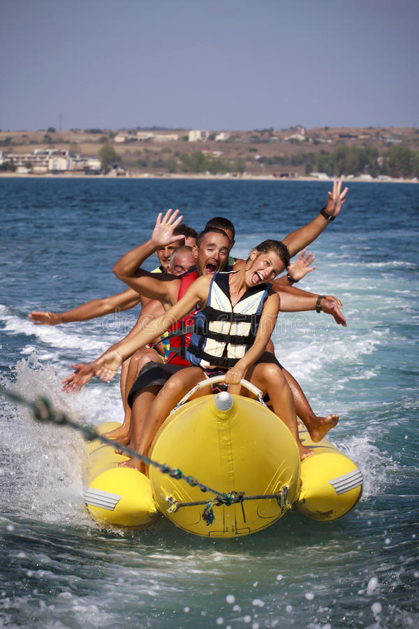 Water funnny sport-banaan. stock fotografie