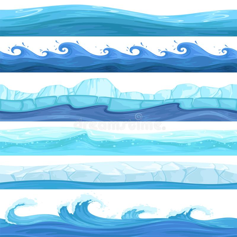 Water game seamless. Surface liquid ocean river waves bubbles underwater vector pattern stock illustration