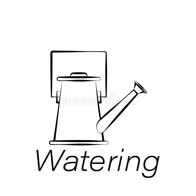 Water gevend hand trek pictogram Element van de landbouw van illustratiepictogrammen De tekens en de symbolen kunnen voor Web, em royalty-vrije illustratie