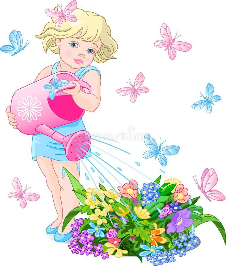 Water gevende Bloem royalty-vrije illustratie