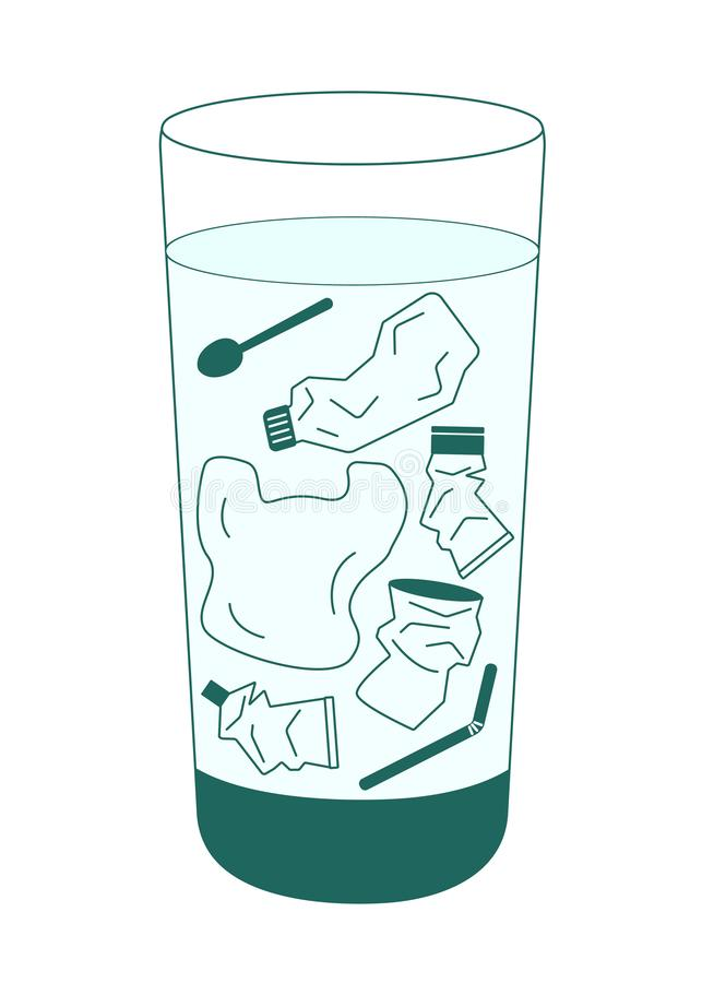 Water in the glass contaminated with plastic trash. On a transparent background stock illustration