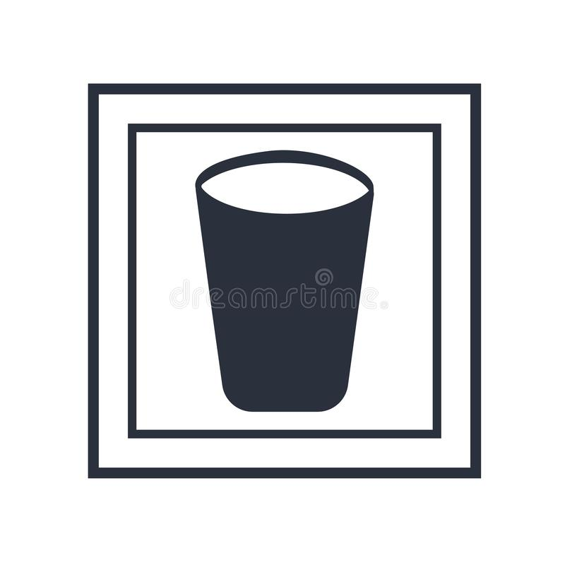 Water glass icon vector sign and symbol isolated on white background, Water glass logo concept. Water glass icon vector isolated on white background for your web stock illustration