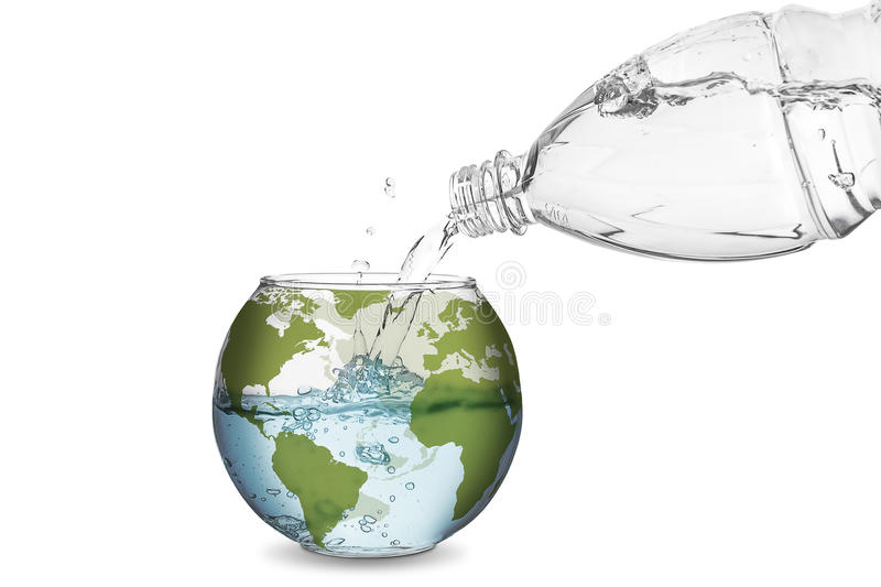 Water in globe bowl. Water spilled from bottle made the wave in globe bowl. Environmental protection concept, global warming royalty free stock images