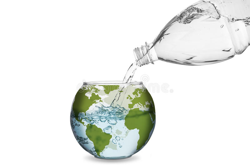 Water in globe bowl. Water spilled from bottle made the wave in globe bowl. Environmental protection concept, global warming stock photography