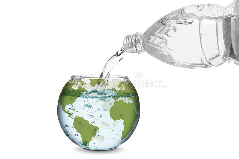 Water in globe bowl. Water spilled from bottle made the wave in globe bowl. Environmental protection concept, global warming stock photo