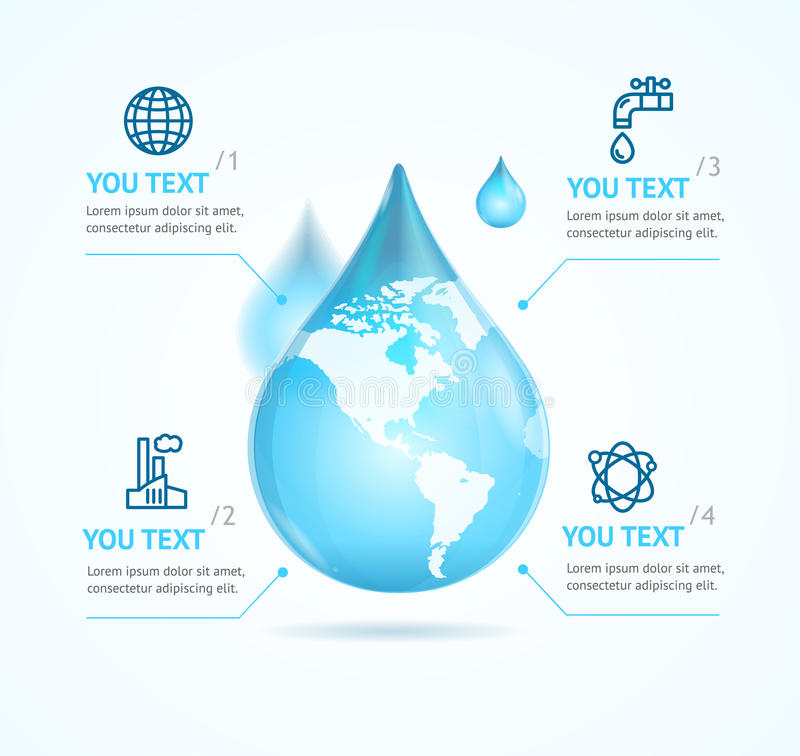 Water Globe Infographic Eco. Vector stock illustration