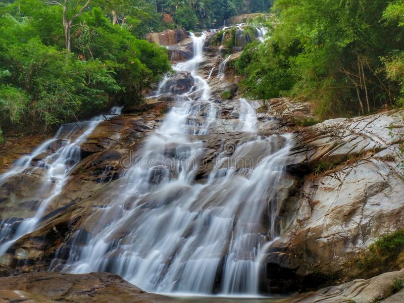 Lata Kinjang Waterfall inTapah, Perak, Malaysia. Lata Kinjang is located about 18 km from Tapah. The main attraction at this waterfall is the impressive series royalty free stock photos