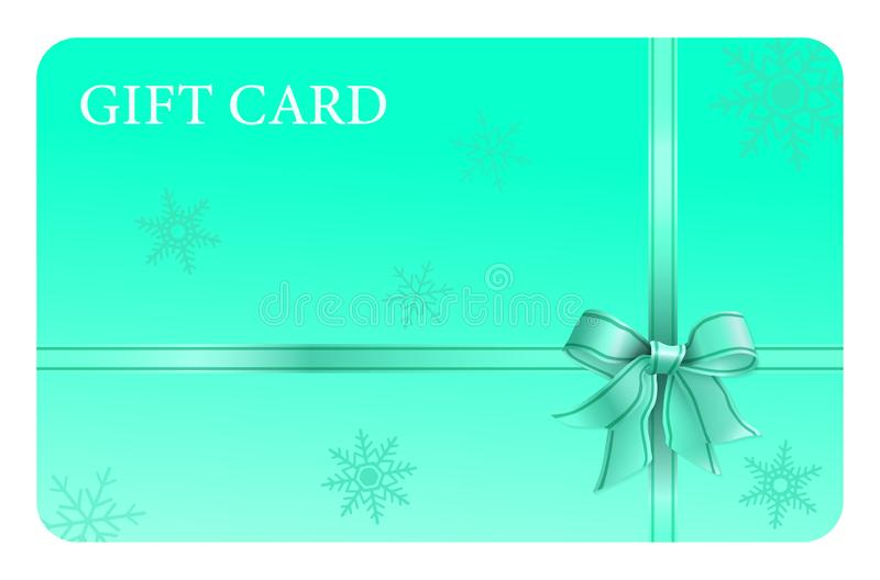Water Green Gift Card with Ribbon and Bow royalty free illustration