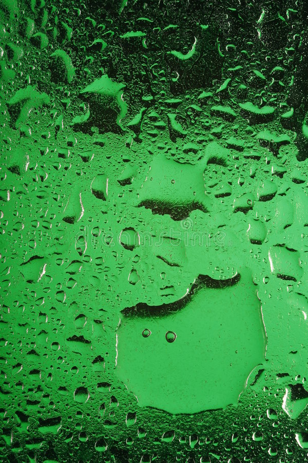 Water on green glass. A closeup of some water drops on green grass stock photo