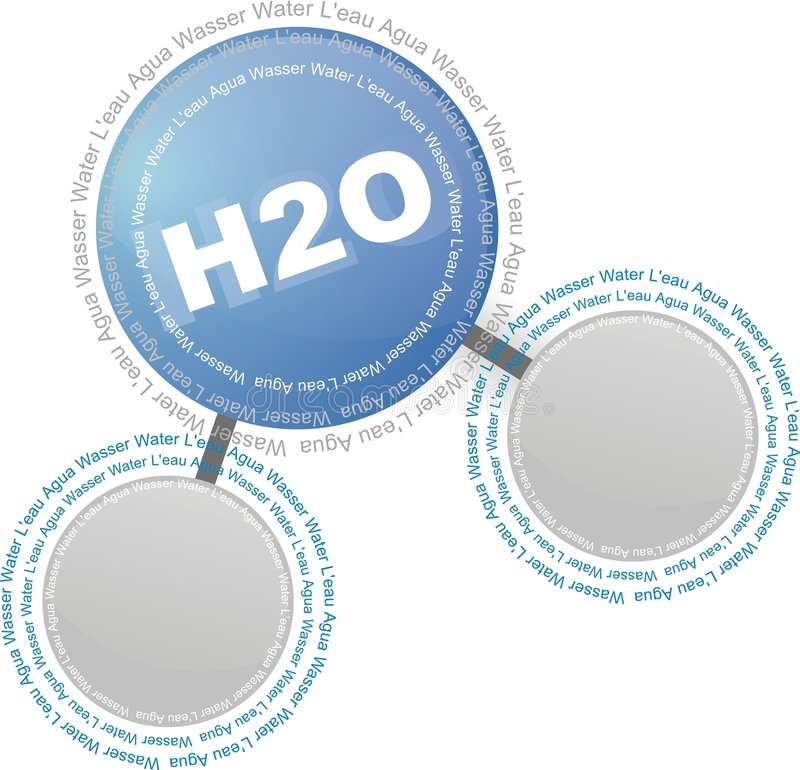 Water - H2O. Model of a molecule of water vector illustration