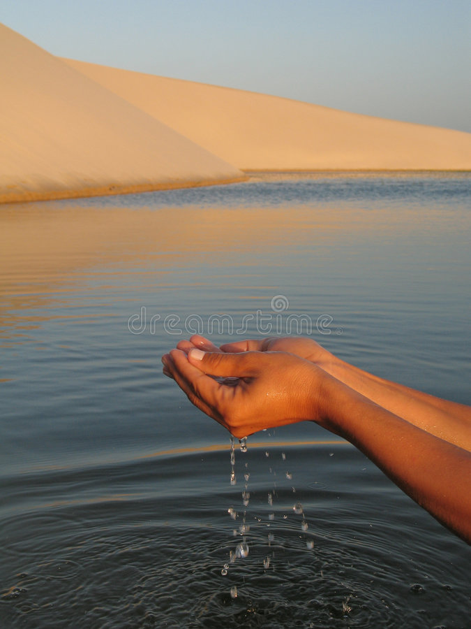 Water hand. Hand removing water of the lagoon between dunes