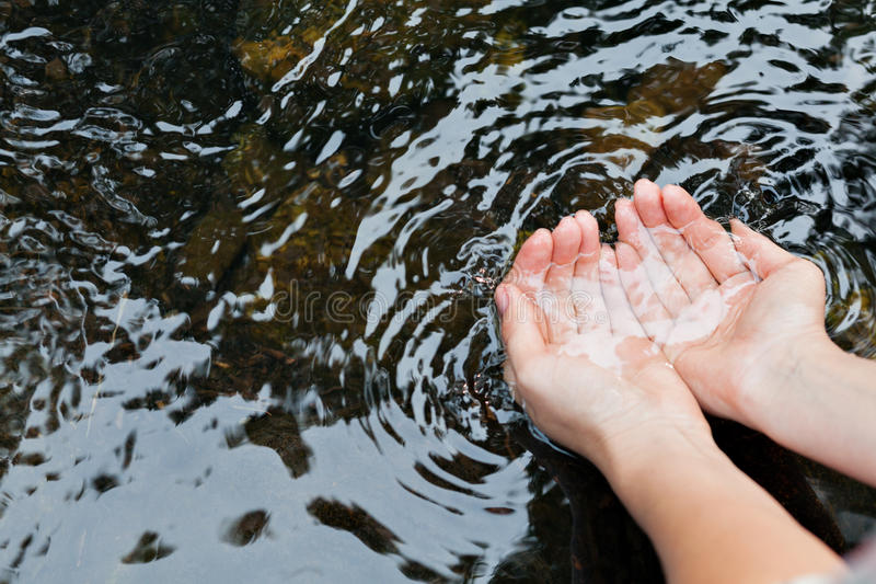 Water in the hands of women. Woman taking clear in the lake royalty free stock image