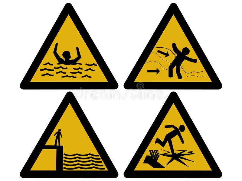Water hazard signs royalty free illustration