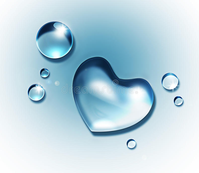 Water heart royalty free illustration