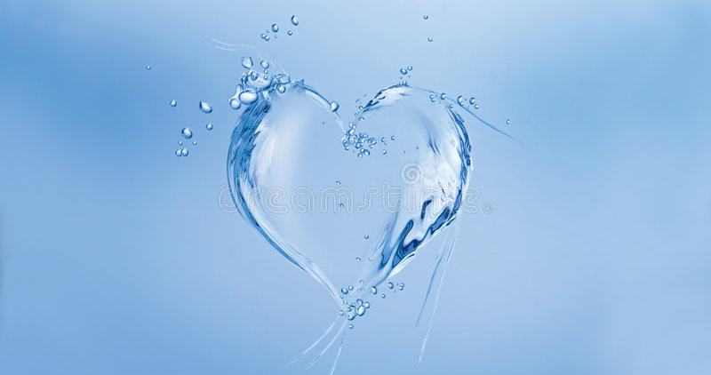Water Heart. A heart made of water floating in blue water