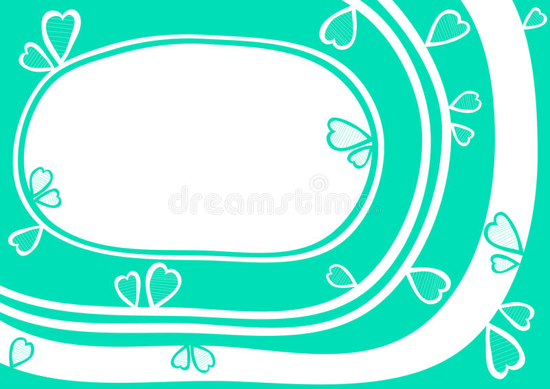 Water Heart frame border valentines day card royalty free stock image