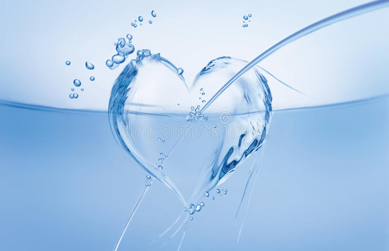 Water Heart in Wave royalty free stock photos