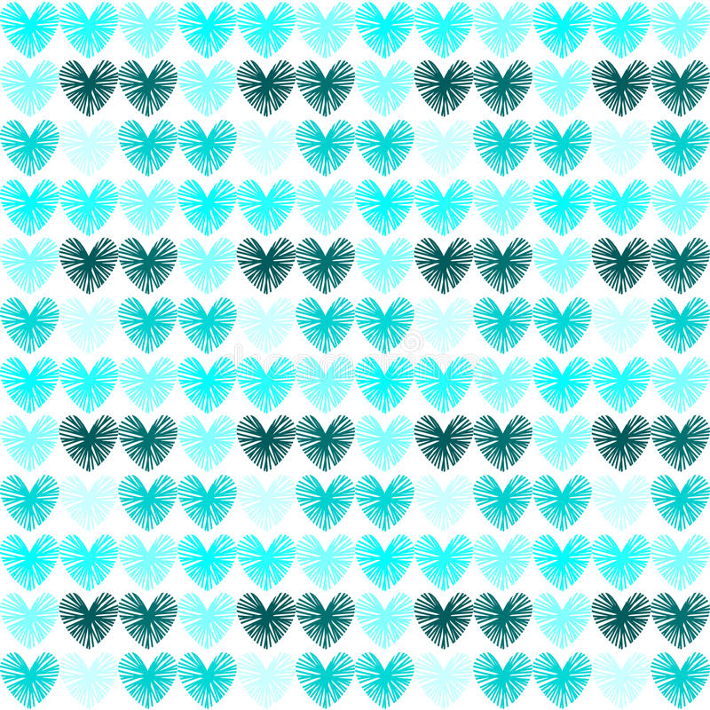 Water hearts Seamless Background. Blue water hearts jewel decor. Seamless Tile stock illustration