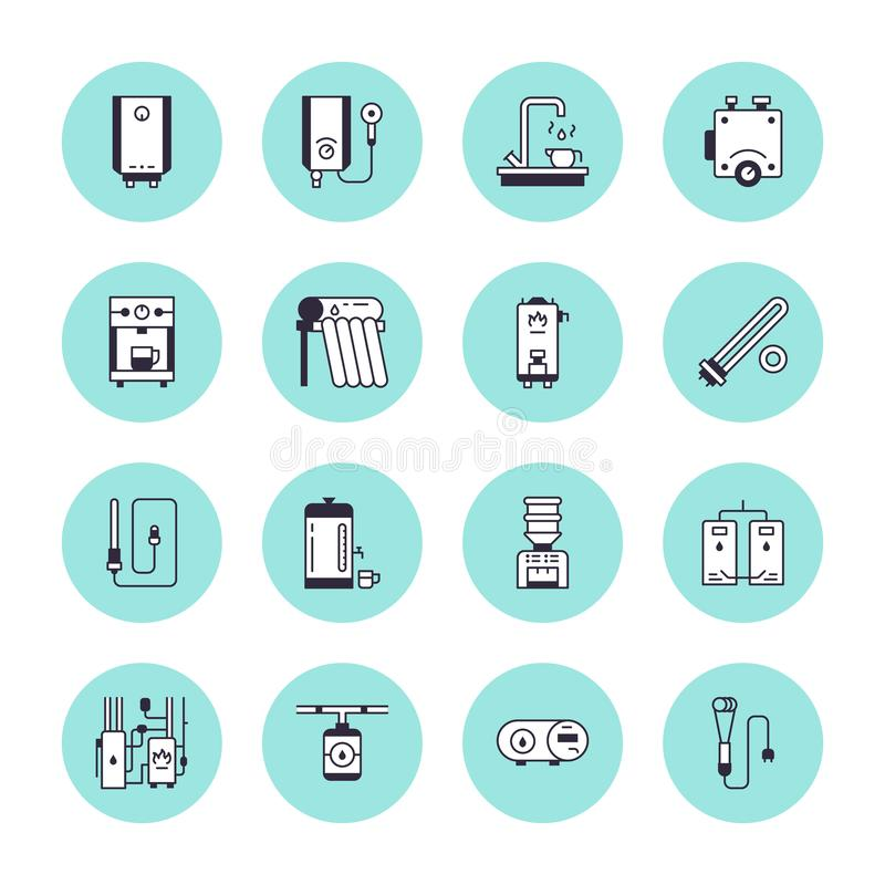 Water heater, boiler, thermostat, electric, gas, solar heaters and other house heating equipment line icons. Thin linear royalty free illustration