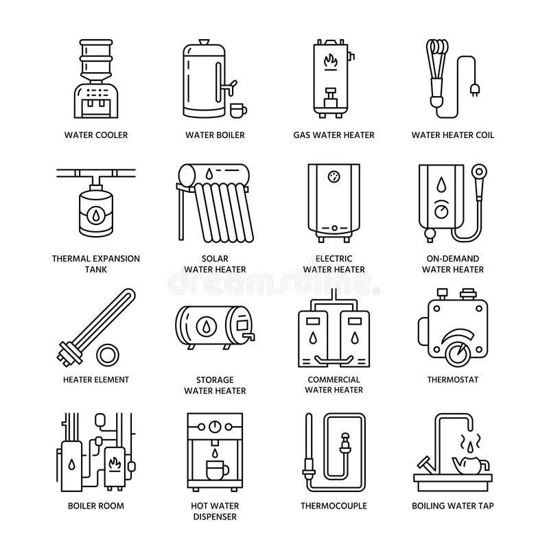 Water heater, boiler, thermostat, electric, gas, solar heaters and other house heating equipment line icons. Thin linear stock illustration
