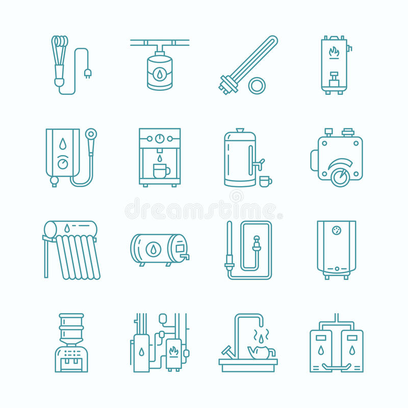 Water heater, boiler, thermostat, electric, gas, solar heaters and other house heating equipment line icons. Thin linear vector illustration
