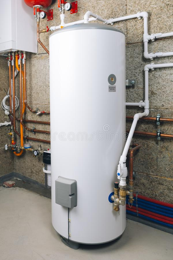 Free Water Heater In Modern Boiler Room Royalty Free Stock Image - 129876676