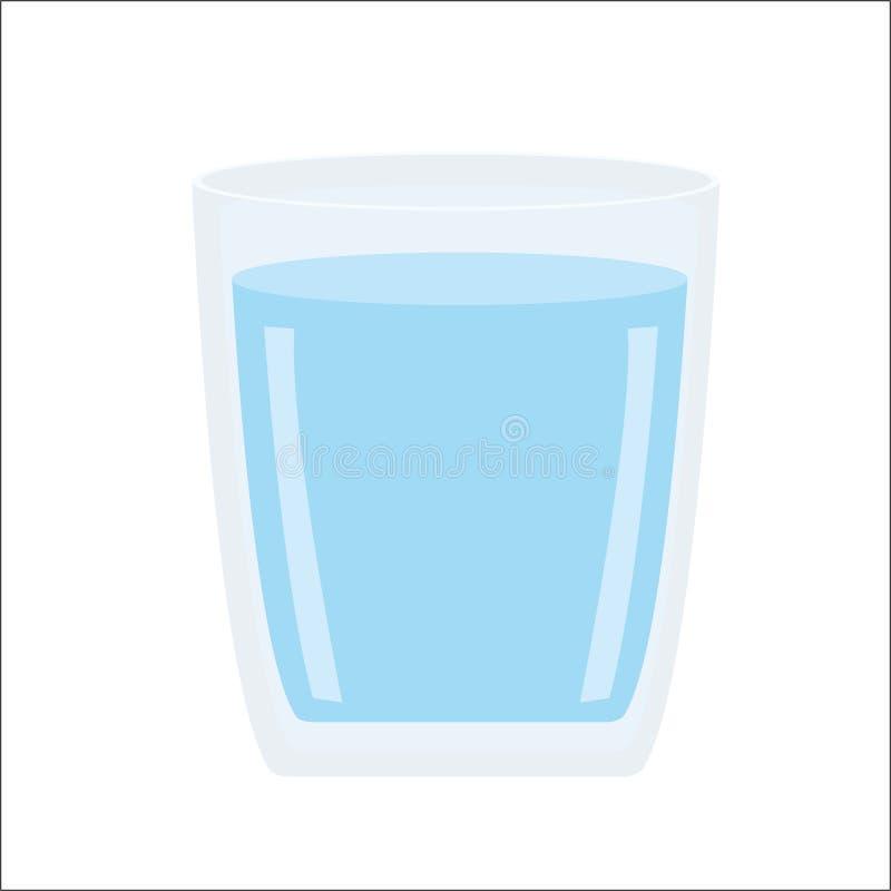 Water in het geïsoleerde glas en Gezond drinkwater royalty-vrije illustratie
