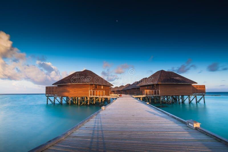 The water hut of Maldives. ,sunrise is beautiful royalty free stock photography